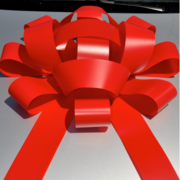 30 Inch Large Red Vinyl Car Bow with Magnetic Back