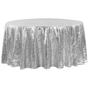 "120"" ROUND SILVER SEQUIN TABLECLOTH"