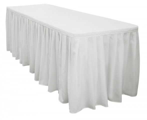 White 14Ft Tableskirt (6ft Table)