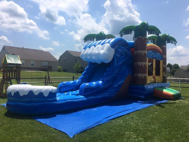 Wet or Dry Tropical Wave Bounce House Slide Combo