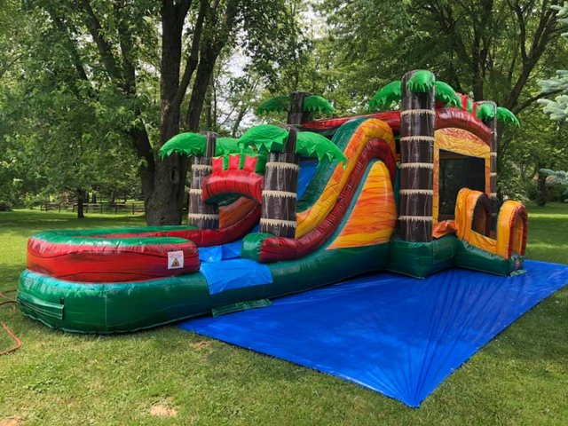 Wet or Dry Safari Splash Bounce House Slide Combo