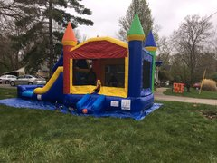 Wet or Dry Rainbow Double Lane Bounce House Slide Combo