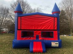 Blue and Red Castle Bounce House