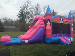 Wet or Dry Princess Double Lane Slide Bounce House Combo