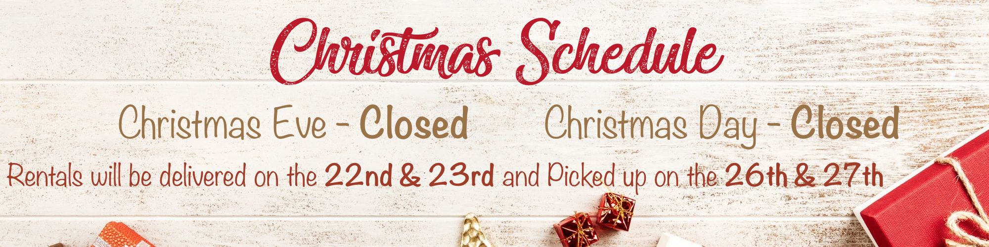 Ricky's Party Rentals Christmas hours and delivery schedule 2019