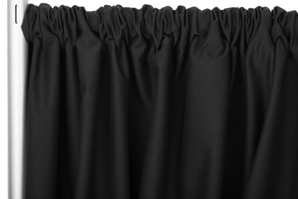 Black Poly Pipe and Drape- 8ft High, 48-80ft Wide