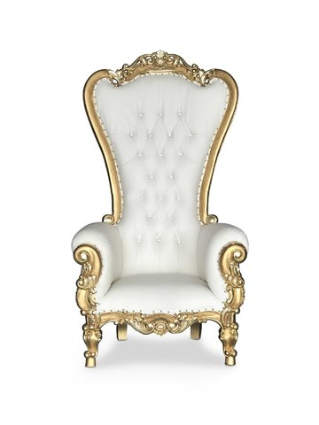 Gold & White Throne Chair