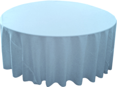 "132"" Round Tablecloth (Polyester/Light Blue)"