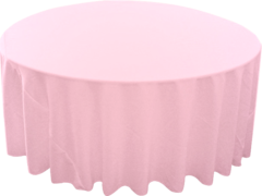 "132"" Round Tablecloth (Polyester/Light Pink)"