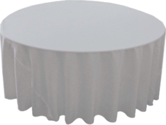 "132"" Round Tablecloth (Polyester/Silver)"