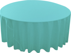 "120"" Round Tablecloth (Polyester/Tiffany Blue)"