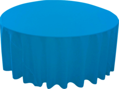 "120"" Round Tablecloth With Umbrella Hole (Polyester/Turquoise)"