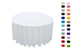 "<p>108in Round Tablecloth</p> <p><span style=""color: #008080;"">Fits our&nbsp;<a style=""color: #008080;"" href=""https://rickyspartyrentals.com/items/48in_round_table/""><strong>48 in Round Tables</strong></a> too the floor</span></p>"