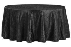 "120"" Round Tablecloth (Pintuck/Black)"