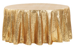 "<p>Gold Glitz 120in Round Tablecloth</p> <p><span style=""color: #008080;"">Fits our <strong><a href=""https://rickyspartyrentals.com/items/60in_round_table/"" style=""color: #008080;"">60in Round Tables</a></strong>&nbsp;too the floor</span></p>"