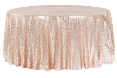 "<p>Blush/Rose Gold Glitz 120in Round Tablecloth</p> <p><span style=""color: #008080;"">Fits our <strong><a href=""https://rickyspartyrentals.com/items/60in_round_table/"" style=""color: #008080;"">60in Round Tables</a></strong>&nbsp;too the floor</span></p>"