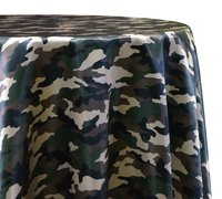 "<p></p> <p>120in Round Camo tablecloth</p> <p><span style=""color: #008080;"">Fits our <strong><a href=""https://rickyspartyrentals.com/items/60in_round_table/"" style=""color: #008080;"">60in Round Tables</a></strong> too the floor</span></p>"