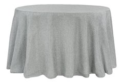 "120"" Round Gray Faux Burlap Tablecloth"