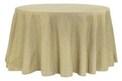 "120"" Round Natural Faux Burlap Tablecloth"