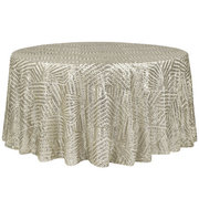 "<p>120in Round Gatsby Tablecloth</p> <p><span style=""color: #008080;"">Fits our <strong><a href=""https://rickyspartyrentals.com/items/60in_round_table/"" style=""color: #008080;"">60in Round Tables</a></strong>&nbsp;too the floor</span></p>"