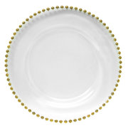 Gold Beaded Charger Plate (For decor purposes only)