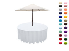 "<p>Umbrella hole Polyester Tablecloth</p> <p><span style=""color: #008080;"">Fits our <a style=""color: #008080;"" href=""https://rickyspartyrentals.com/items/60in_round_table_(with_umbrella_hole)/""><strong>Round Umbrella Tables</strong></a>&nbsp;too the floor"