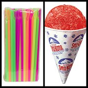 Snow Cones Cups and Straws