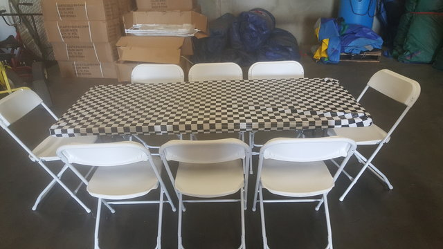 6 FT Table & Chair Package w/Black Check Cover