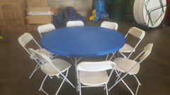 "60"" Round Table & Chair Package w/Royal Blue Cover"