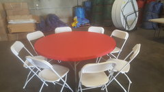 "60"" Round Table & Chair Package w/Real Red Cover"