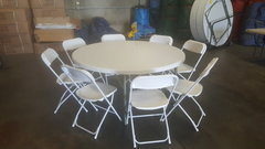 "60"" Round Table & Chair Package w/White Cover"