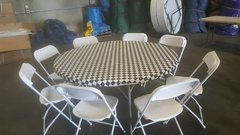 "60"" Round Table & Chair Package w/Black Check Cover"