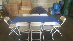 6 FT Table & Chair Package w/Royal Blue Cover