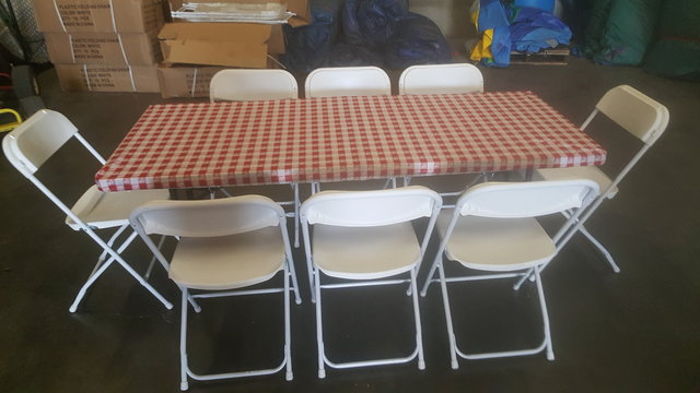 6 FT Table & Chair Package w/Red Gingham Cover