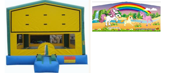Party Time Bounce House w/ Magical Horse Banner