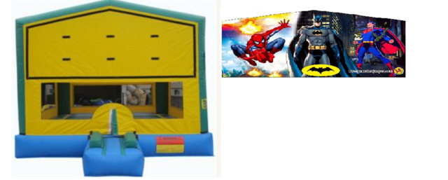 Party Time Bounce House w/ Marvel Banner