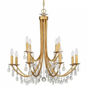 LIGHTS  GOLD VINTAGE CRYSTAL CHANDELIER 12 LIGHT