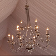 LIGHTS  NICKLE PLATED 36' CHANDELIER (12 LIGHTS)