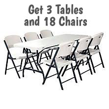 $49 Table and Chairs Package / 3T, 18C