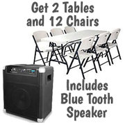 $55 Blue Tooth Speakers w/ Tables and Chairs