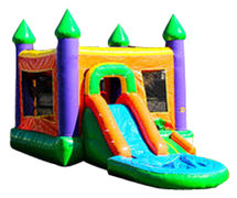 A Castle Combo Moonwalk/Water Slide with Detachable Pool Wet or Dry