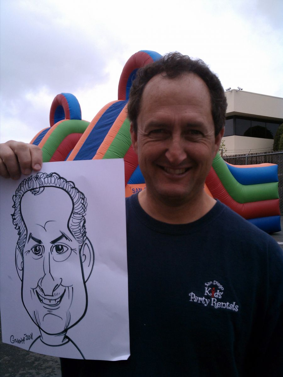 Caricature artist from San Diego Kids Party rentals