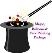 90 Minute Magic, Balloons & Face Painting Package