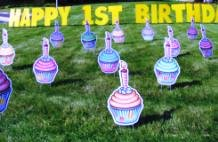 Yard Art Happy Birthday Cupcakes