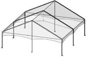 30' by 30' Frame Tent Seating for 56