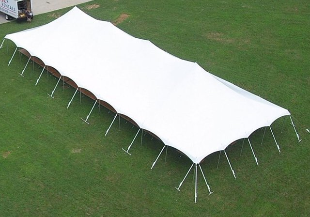 40' by 100' Pole Tent Seating for 248 with Dance Floor