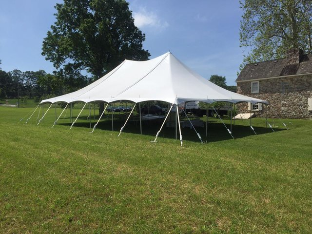 40' by 60' Pole Tent Seating for 96 with Dance Floor