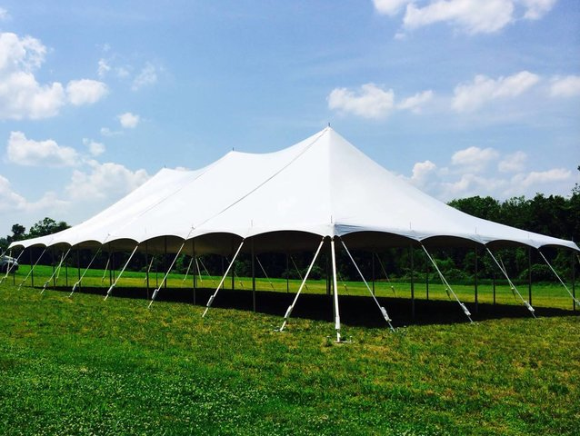 40' by 80' Pole Tent Seating for 152 with Dance Floor