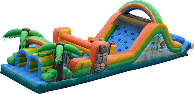 48 foot Tiki Island Double Lane Obstacle Course (Wet)
