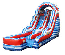 15ft Red White and Blue Waterslide (Wet)
